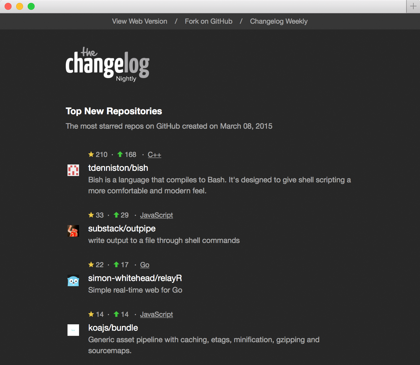 Changelog Nightly - 2015-03-08 - Night