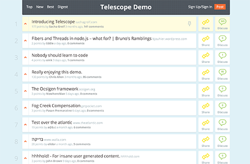 Telescope, a real-time social news app